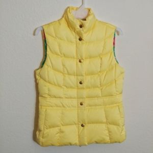 XS Lilly Pulitzer Yellow Down Puffer Vest